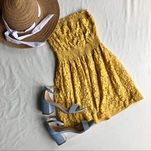 Wet Seal lace yellow short dress XS strapless